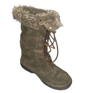 Sam Edelman suede faux fur lace up boots SZ 7